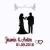 Hochzeit im Rahmen Brautpaar mit Tauben