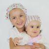 Kopftüchlein Rosa mit Tupfen Biobaumwolle Kind 1-3 Jahre
