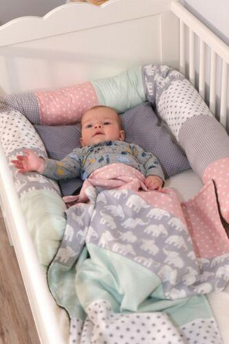 Ullenboom-Lifestyle-Bettschlange-Babydecke-Elefant-Mint-Rosa(4)